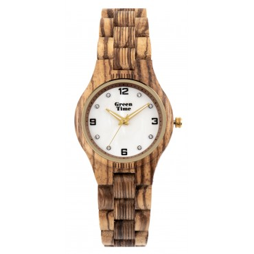 GreenTime Holzuhr Bine - Damen Armbanduhr aus Zebranoholz + Perlmutt
