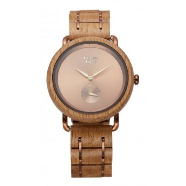 GreenTime Holzuhr Juno - Damen Armbanduhr aus IPBrown Eichenholz