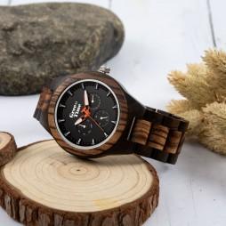 GreenTime Chronograph Holzuhr Firenze aus Zebrano- und Ebenholz