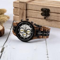 GreenTime Chronograph Holzuhr Nizza aus Zebrano- und Ebenholz
