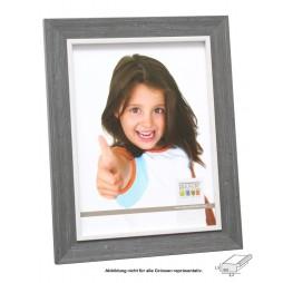 DEKNUDT Bilderrahmen Rahmen, 13x18 cm grau mit weisser Innenkante, Kunststoff