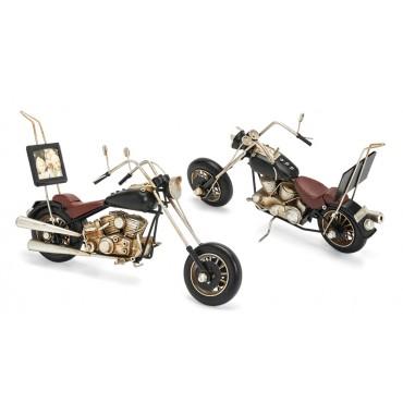 Motorrad aus Metall mit Fotoahmen Größe ca. 33x10,5x16,5 cm - Antike Deko