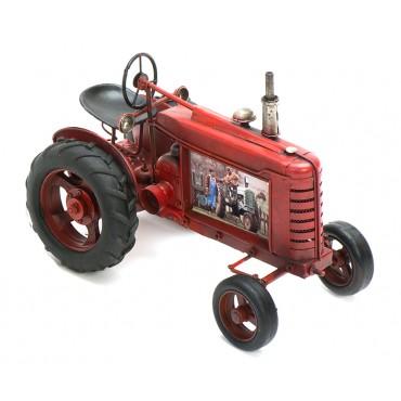 Traktor rot aus Metall mit Fotorahmen Größe ca. 25x13x17 cm - Antike Deko