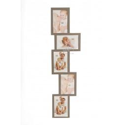 DEKNUDT Exklusiver Galerierahmen , braun , für 5 Bilder 13x18 cm S65SX9 zum Hängen und Stellen (Quer)