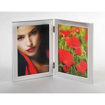 EURATIO Metall Doppelrahmen SANIA für 2 Bilder 10x15 cm Hochformat zum Stellen