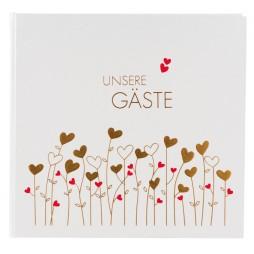 Goldbuch Gästebuch Unsere Gäste Golden Hearts 50157 - 176 weiße Seiten