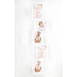 DEKNUDT Exklusiver Galerierahmen , weiß , für 5 Bilder 13x18 cm S65SX1 zum Hängen und Stellen (Quer)