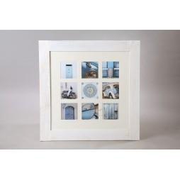 Effect Holz Galerierahmen Fjorde m. Passepartout für 9 Bilder in 13x13 cm weiß