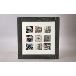 Effect Holz Galerierahmen Fjorde m. Passepartout für 9 Bilder in 13x13 cm schwarz