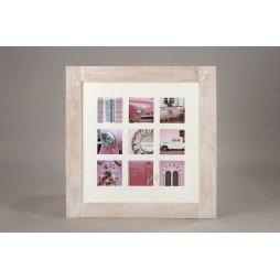 Effect Holz Galerierahmen Fjorde m. Passepartout für 9 Bilder in 13x13 cm beige