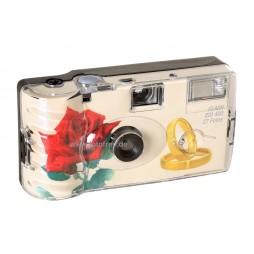 10x Einwegkameras mit Blitz in Rosen & Ringe Design 27 Aufnahmen