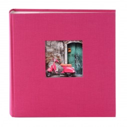 Goldbuch Fotoalbum Bella Vista Leinen 24898 pink , 60 weiße Seiten, 25x25cm