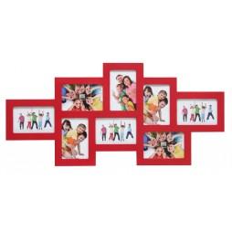DEKNUDT Holz Galerierahmen rot für 8 Bilder 10x15 cm