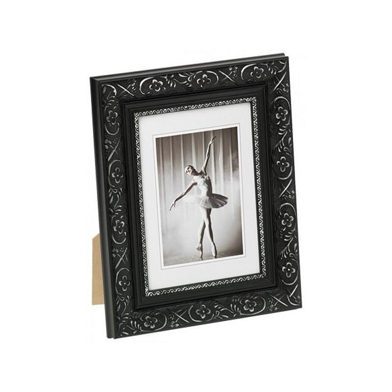 Barock Portrait Bilderrahmen schwarz 13x18 cm + Passepartout 9x13 cm