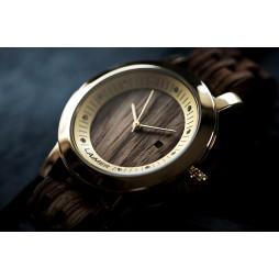 LAiMER Holzuhr Jenni - Damen Armbanduhr 100% Zebranoholz mit SWAROSKI Kristalle