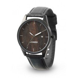 LAiMER Holzuhr Gabriele - Unisex Armbanduhr aus Edelstahl & Ebenholz , Südtirol