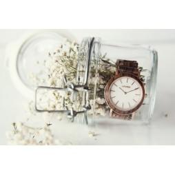 LAiMER Holzuhr Leona - Damen Armbanduhr aus Edelstahl & Ebenholz , Südtirol