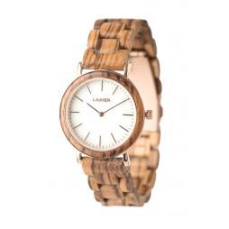 LAiMER Holzuhr Leona - Damen Armbanduhr aus Edelstahl, Zebrano & Marmor , Südtirol