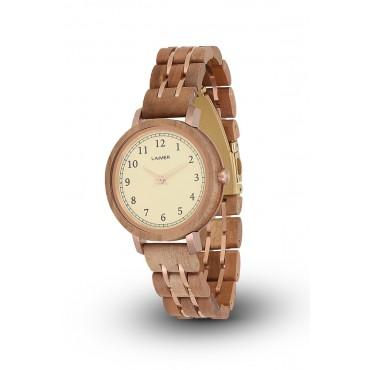 LAiMER Holzuhr Eva - Damen Armbanduhr 100% Apfelholz , Südtirol