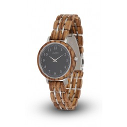 LAiMER Holzuhr Elly - Damen Armbanduhr 100% Zebrano , Südtirol