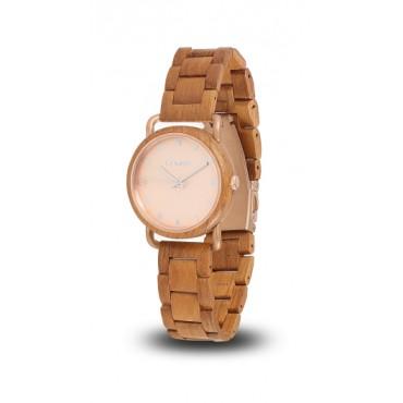 LAiMER Automatic Holzuhr Gina - Damen Armbanduhr 100% Teakholz , Südtirol