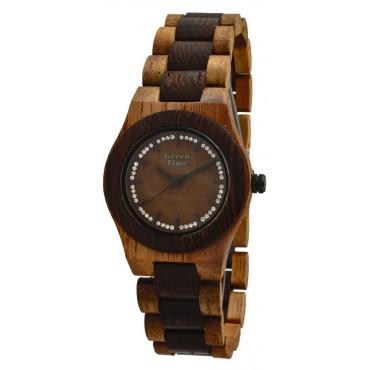 Holzuhr Amelie - Damen Armbanduhr mit Strasssteinchen