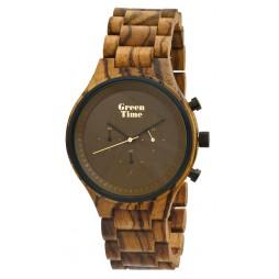 GreenTime Holzuhr Eric - Herren Armbanduhr aus Zebranholz
