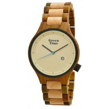 GreenTime Holzuhr Jona - Herren Armbanduhr aus Ahorn- / Sandelholz