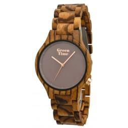 GreenTime Holzuhr Lotta - Unisex Armbanduhr aus Zebranoholz