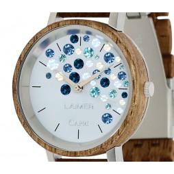 LAiMER Holzuhr Capri Walnuss - Damen Armbanduhr 100% Walnuss + Swarovski Südtirol