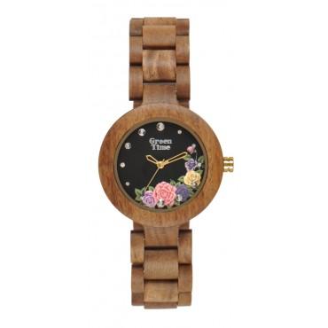 GreenTime Holzuhr Pia - Damen Armbanduhr aus Kossoholz