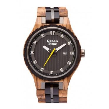GreenTime Aaron - Herren Armbanduhr aus Zebrano + Ebenholz