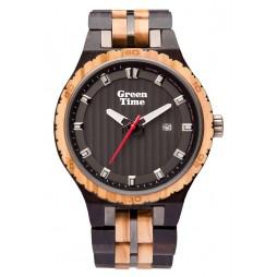 GreenTime Holzuhr Oscar - Herren Armbanduhr aus Olivenholz + Ebenholz