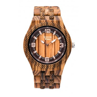 GreenTime Holzuhr Mattis - Herren Armbanduhr aus Zebranoholz