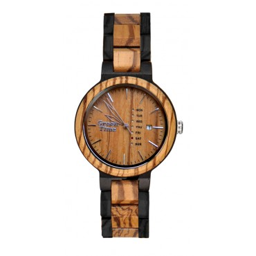 Greentime Holzuhr Luke - Unisex Armbanduhr Sandelholz + Wochentag