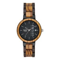 Greentime Holzuhr Lukas - Unisex Armbanduhr Sandelholz / Zebrano + Wochentag