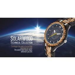 GreenTime SOLAR Holzuhr one - Herren Armbanduhr aus Zebrano/Ebenholz SOLARWOOD