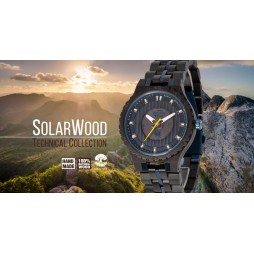 GreenTime SOLAR Holzuhr two - Herren Armbanduhr aus Ebenholz SOLARWOOD