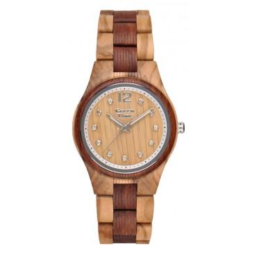 GreenTime Holzuhr Lilly - Damen Armbanduhr aus Olivenholz + Swarovski Steine