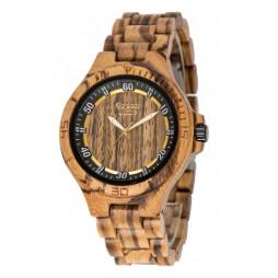 GreenTime Holzuhr Till - Herren Armbanduhr aus Zebranoholz