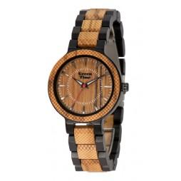 GreenTime Holzuhr Holzuhr Emilia - Damen Armbanduhr aus Oliven- und Ebenholz