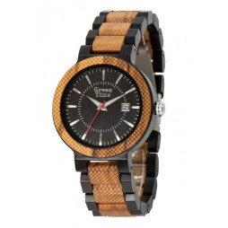 GreenTime Holzuhr Max - Herren Armbanduhr aus Ebenholz + Zebrano