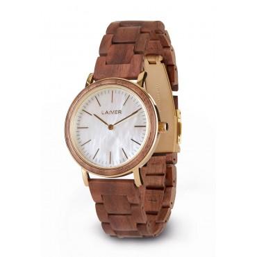 LAiMER Holzuhr LARA - Damen Armbanduhr 100% Walnussholz mit Perlmutt