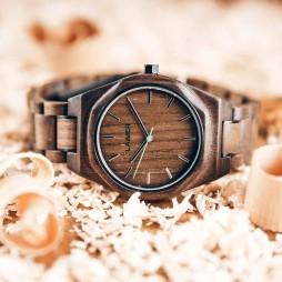 LAiMER Holzuhr CHRISTIANO - Herren Armbanduhr 100% Walnussholz aus Südtirol