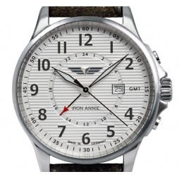 IRON ANNIE 5840-1 Herren Armbanduhr GMT WELLBLECH VINTAGE LEDERBAND GRAU