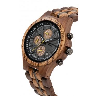 Greentime Holzuhr Amberg ZW126A - Herren Armbanduhr aus Walnussholz + Zebrano