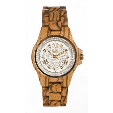 GreenTime Holzuhr Annie - Damen Armbanduhr Sandelholz + Olivenholz