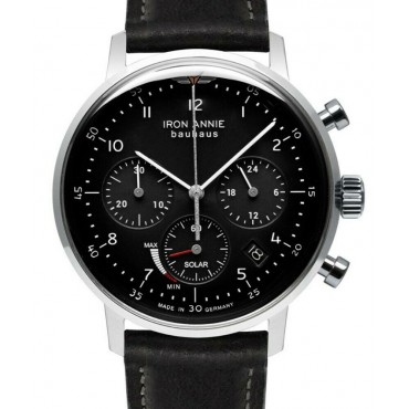 IRON ANNIE 5086-2 BAUHAUS EDELSTAHL CHRONOGRAPH 41MM SOLAR POWER RESERVE Black