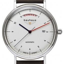 BAUHAUS Automatic UHR 2162-1 weiß Day Date - mechanisch, automatischer Aufzug