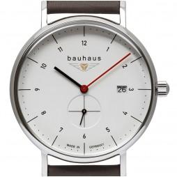 BAUHAUS UHR QUARZ kleine Sekunde 2130-1 weiß beige - Wasserdicht 5 atm , Datum